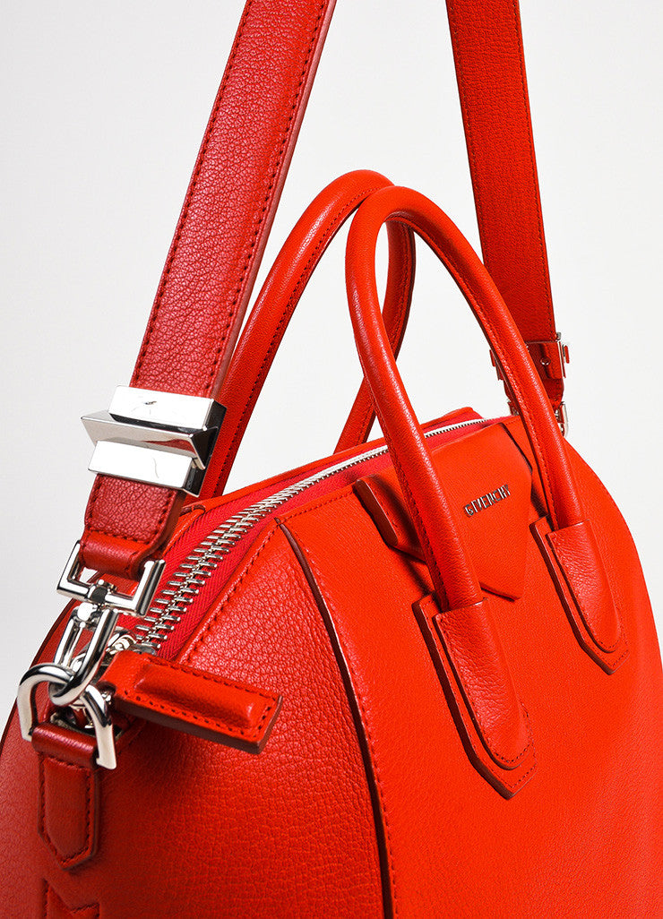 "Givenchy Red and Silver Toned Goat Leather Top Handle Medium ""Antigona"" Bag Detail 2"