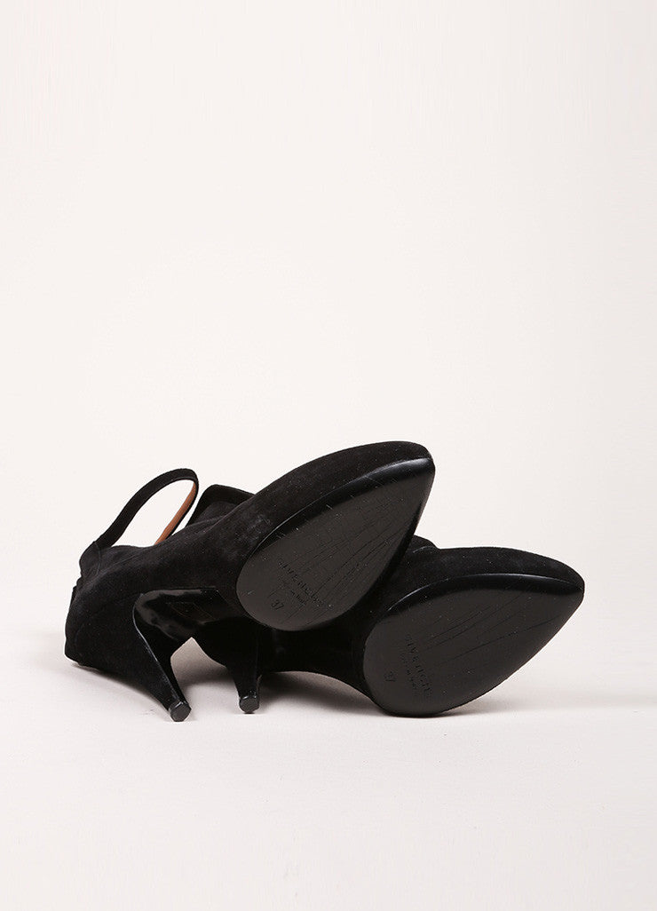 Givenchy Black Suede Ankle Strap Platform Booties Outsoles