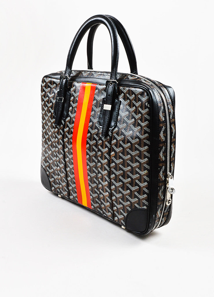 "Black Brown White Goyard Painted Monogram Canvas ""Ambassade"" Bag Side"