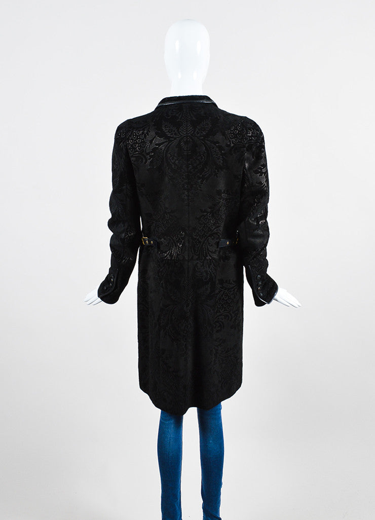 Black Gucci Suede Leather Floral Embossed Long Zip Up Walking Coat Backview