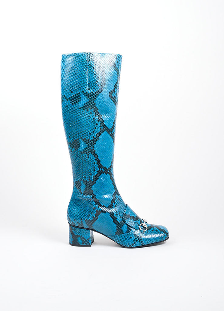 Blue Gucci Snakeskin Leather Horsebit Knee High Block Heel Boots Sideview