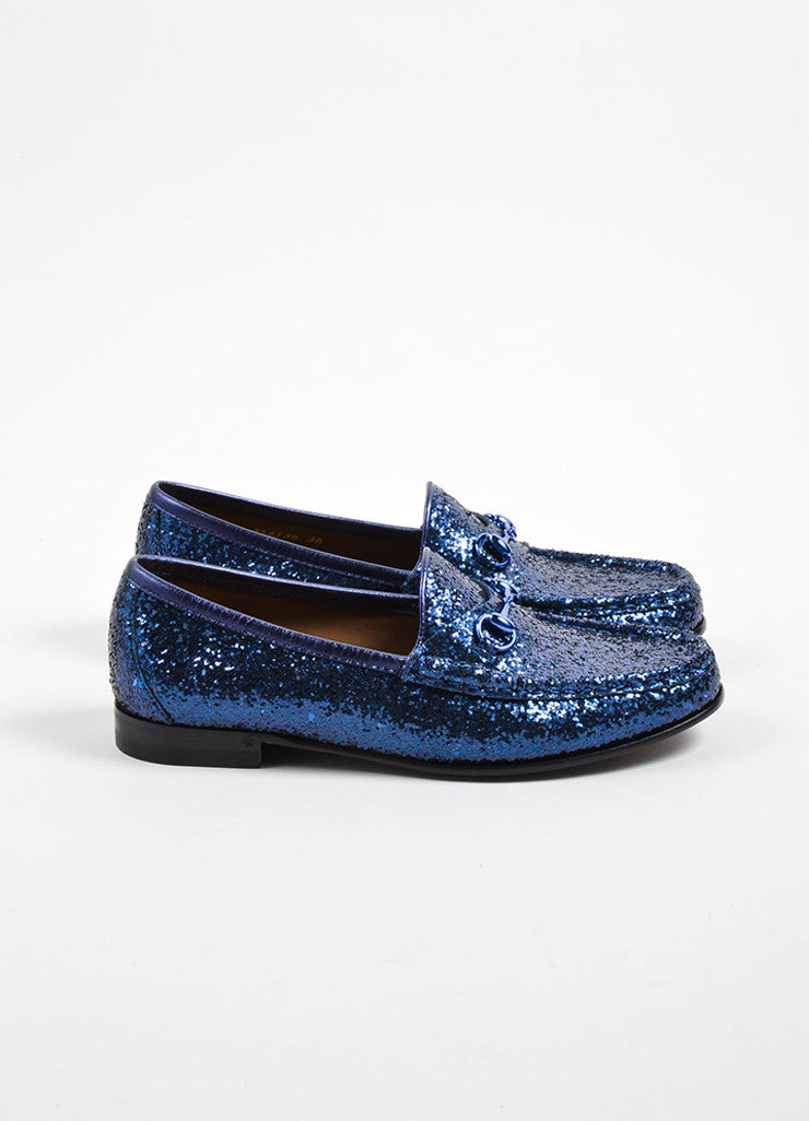 Gucci Navy Blue Glitter Leather Horsebit Buckle Flat Loafers Sideview