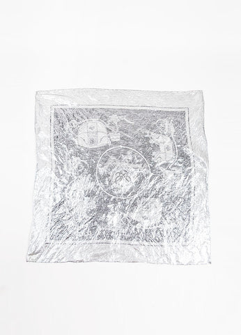 "Hermes Metallic Silver Printed ""Ex Libris"" Scarf Frontview"