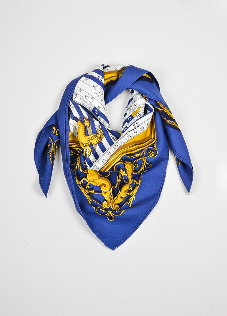 "Navy Blue, White, and Gold Hermes Silk ""Astrologie Dies Et Hore"" Scarf Frontview"