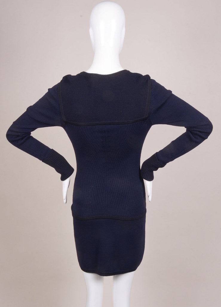 "Isabel Marant New With Tags Navy and Black Wool Knit ""Bingham"" Dress Backview"