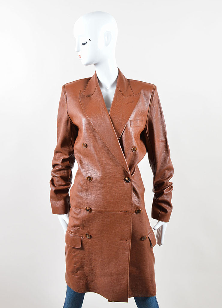 Jean Paul Gaultier Femme Brown Leather Double Breasted Coat Frontview