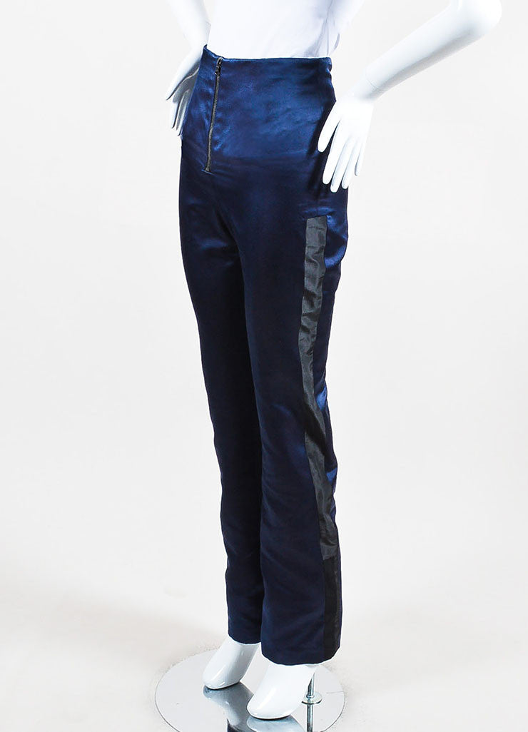 Karolina Zmarlak Navy and Black Silk Taffeta Trim High Waist Dress Pants Sideview