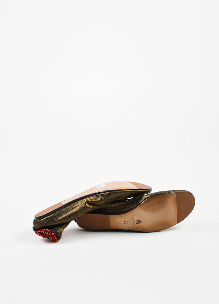 "Lanvin Bronze and Red Rhinestone Heart ""10th Anniversary"" Ballet Flats Outsoles"