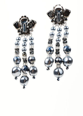 Black and Grey Lawrence VRBA Dangle Statement Earrings Back