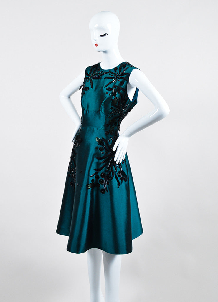 Teal and Black Lela Rose Silk Bead Floral Applique Sleeveless Dress Sideview