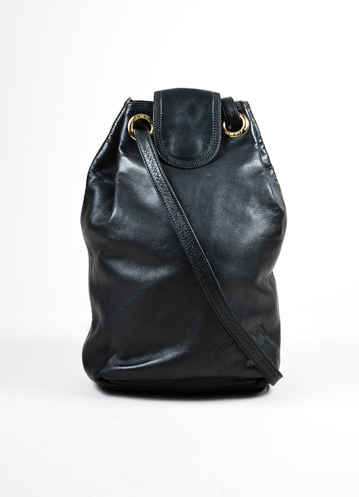Black and Gold Toned Loewe Calf Leather Crossbody Drawstring Bucket Bag Frontview