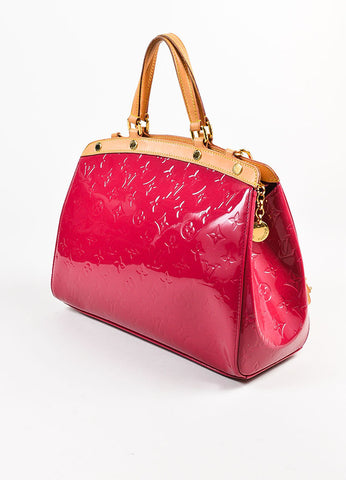"Louis Vuitton Berry Pink Tan Monogram Vernis Leather ""Brea MM"" Tote Bag Sideview"
