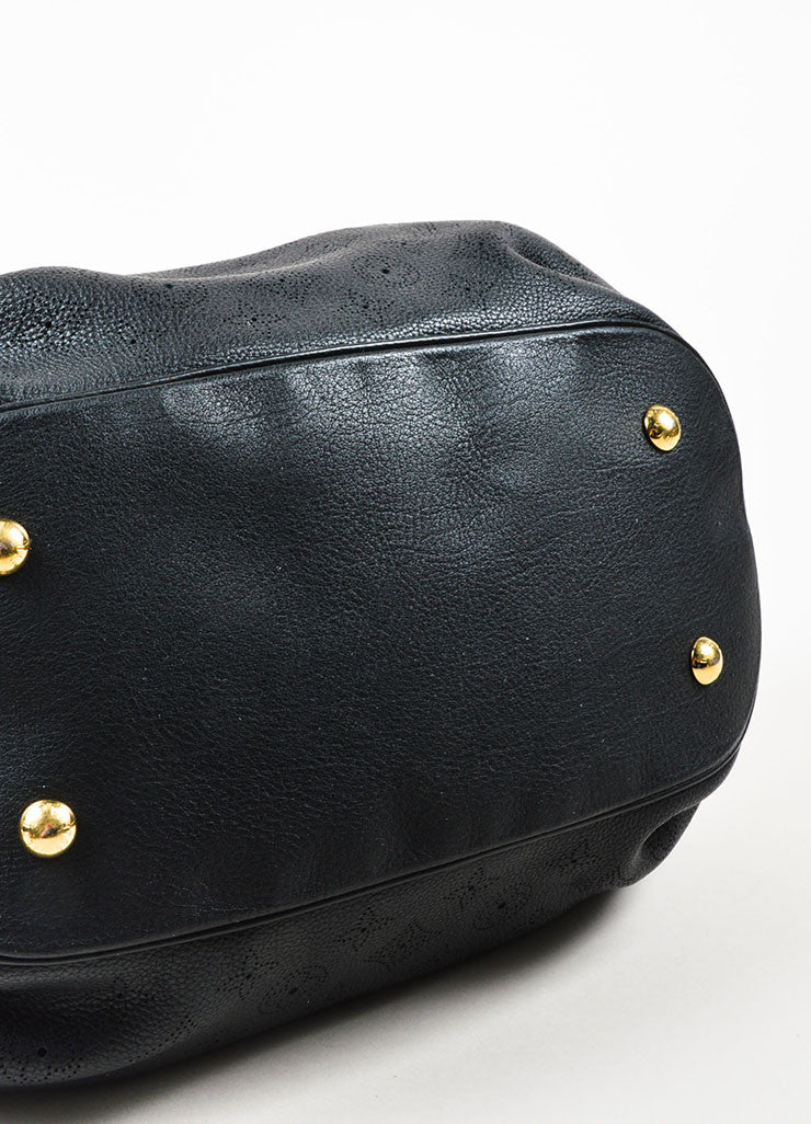 "Louis Vuitton Black ""Mahina"" Leather Monogram ""L"" Hobo Shoulder Bag Bottom View"