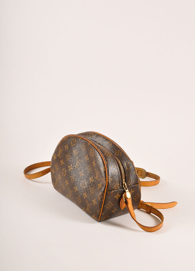 "Louis Vuitton Brown and Tan Coated Canvas Leather Monogram ""Blois"" Crossbody Bag Sideview"