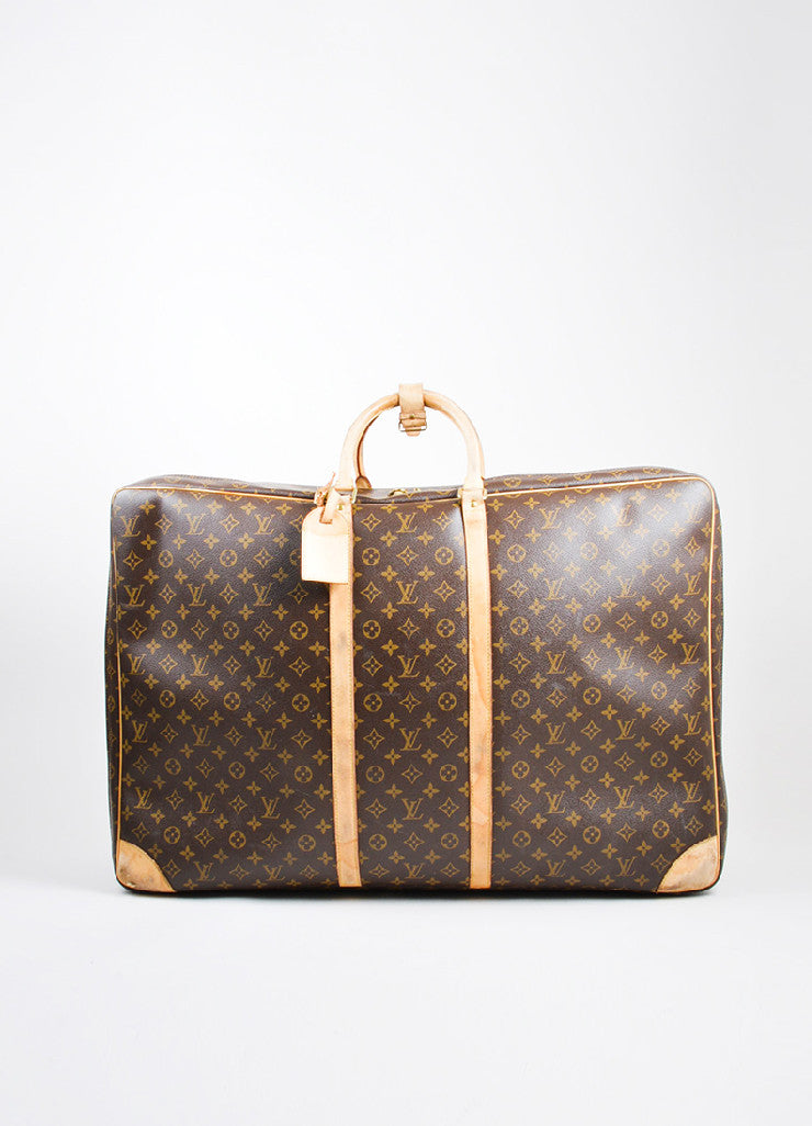 "Brown and Tan Louis Vuitton Monogram Canvas ""Sirius 70"" Suitcase Luggage Frontview"