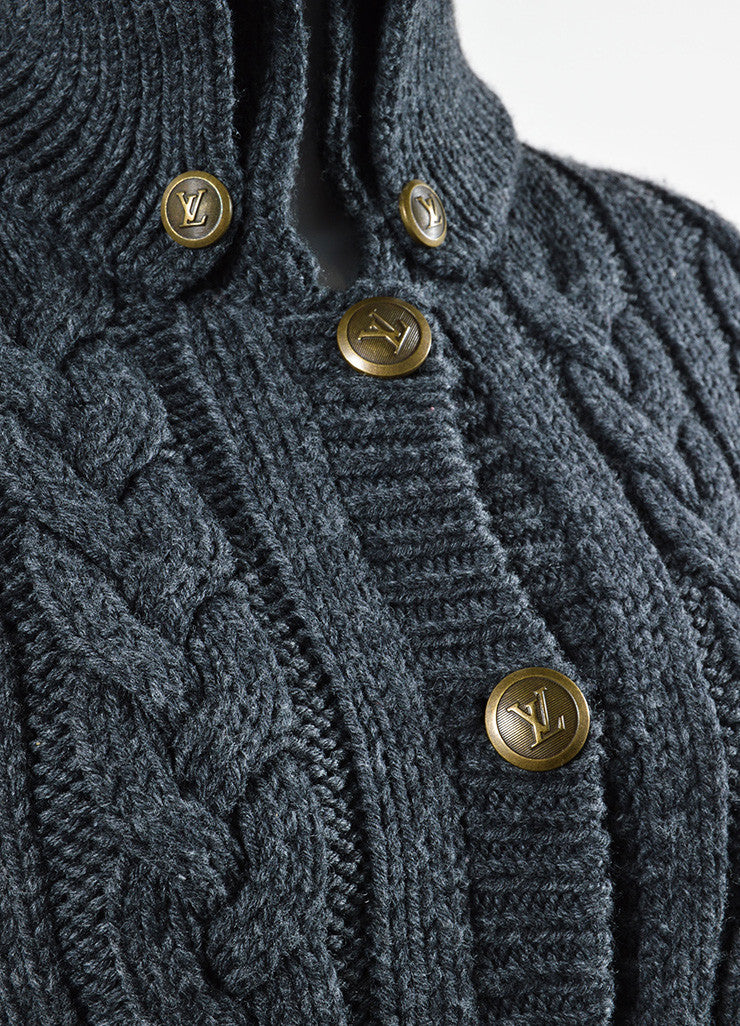 Louis Vuitton Grey Wool Cable Knit Belted Cardigan Detail