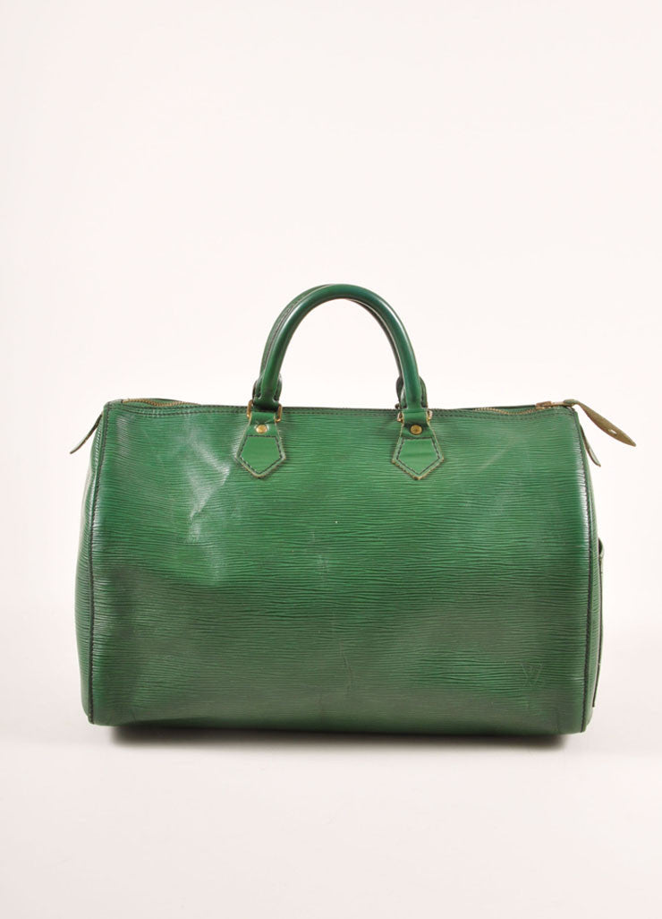 "Louis Vuitton Green Epi Leather ""Speedy 35"" Satchel Handbag Frontview"