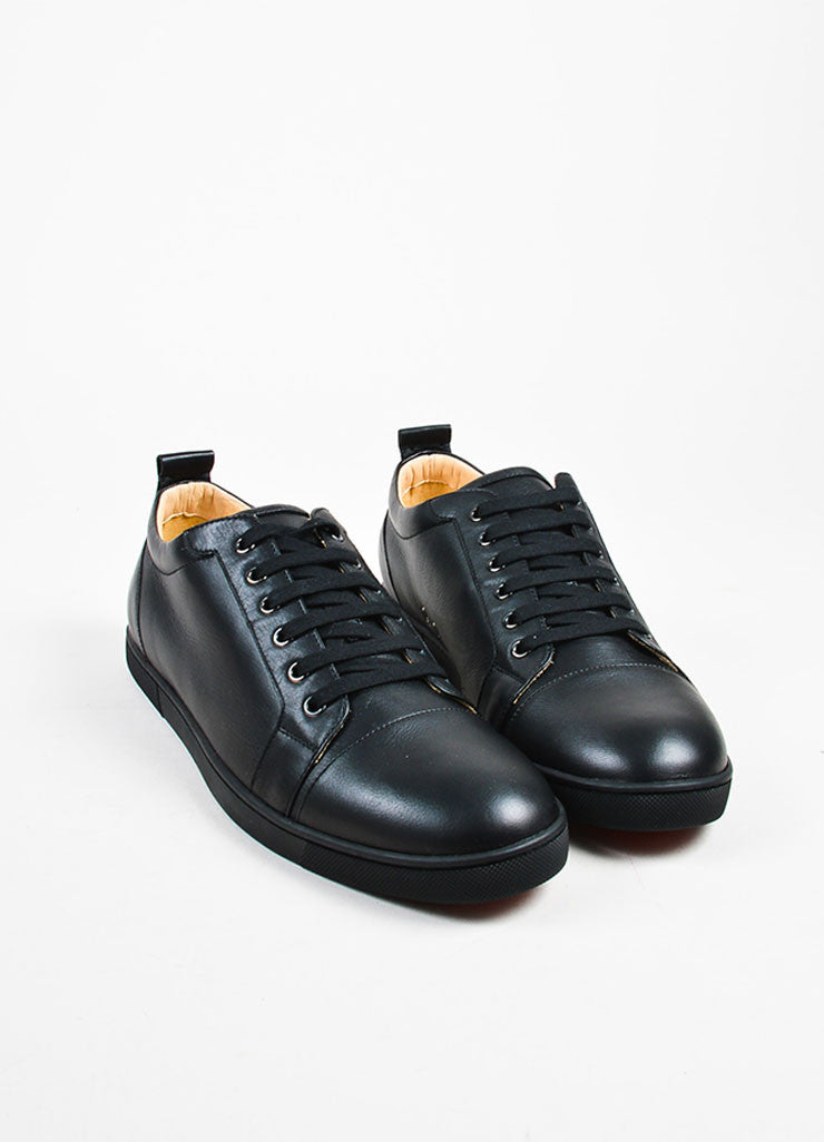 "Men's Black Christian Louboutin Leather ""Louis Junior"" Sneakers Front"