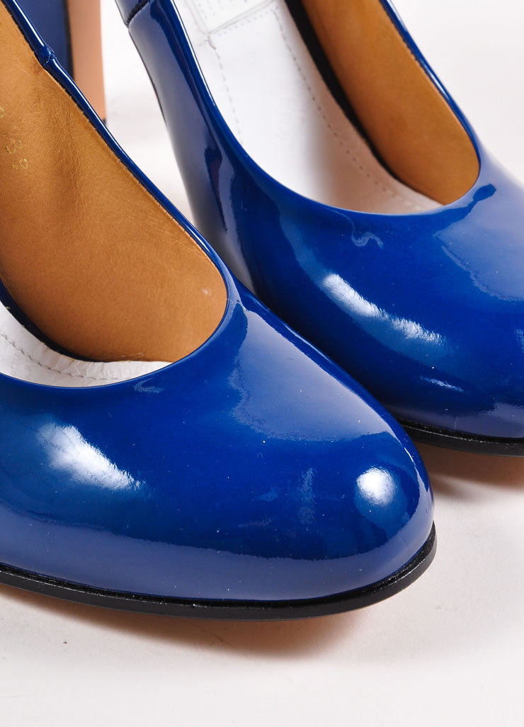 Maison Martin Margiela Dark Blue Patent Leather Round Toe Pumps Detail
