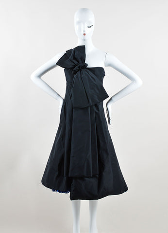Marc Jacobs Black and Navy Blue Silk Oversized Bow One Shoulder Cocktail Dress Frontview