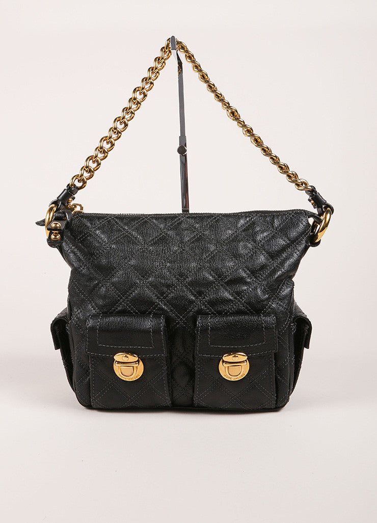 Marc Jacobs Black Quilted Leather Multipocket Chain Hobo Bag Frontview