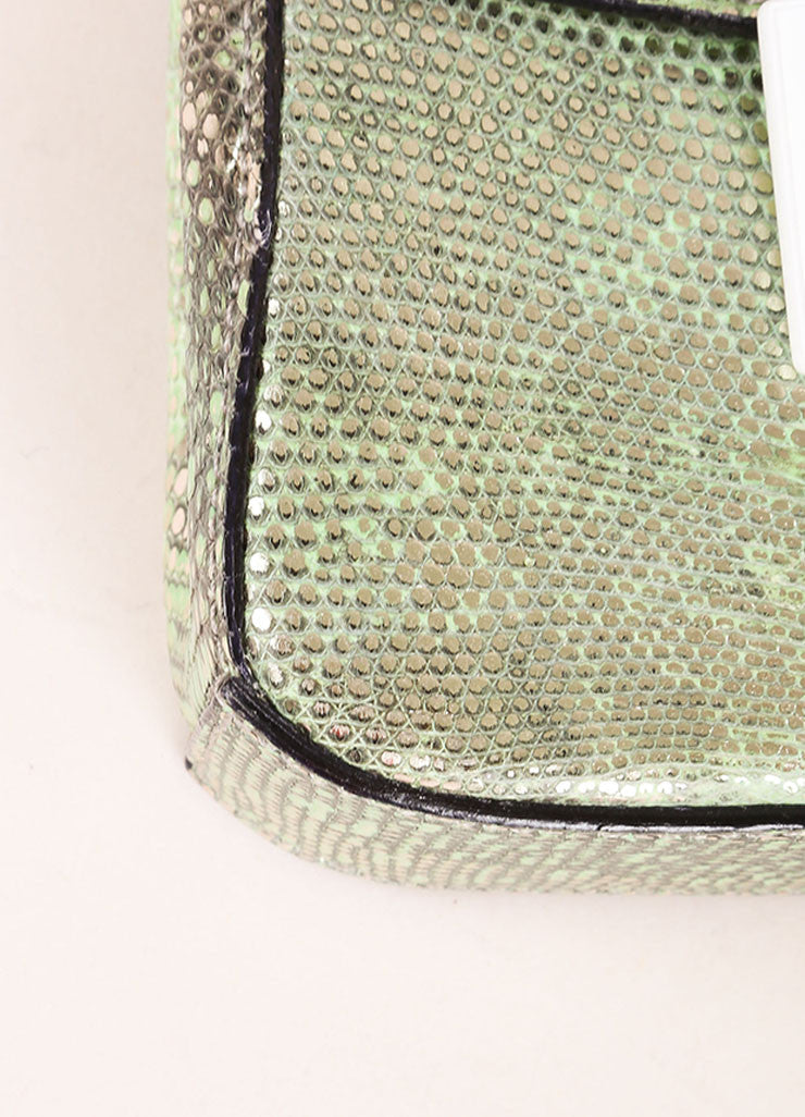 "Marc Jacobs New With Tags Green and Silver Reptile Leather Metallic ""Ruby"" Clutch Bag Detail"