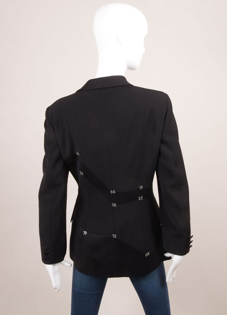 Moschino Cheap & Chic Black Wool Rhinestone Embellished Tailored Blazer Backview