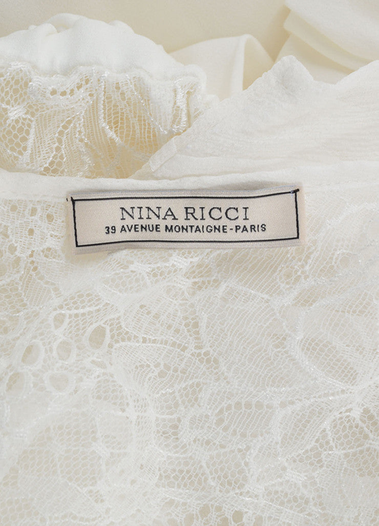 Nina Ricci White Silk Embroidered Lace Pleated Short Sleeve Dress Brand