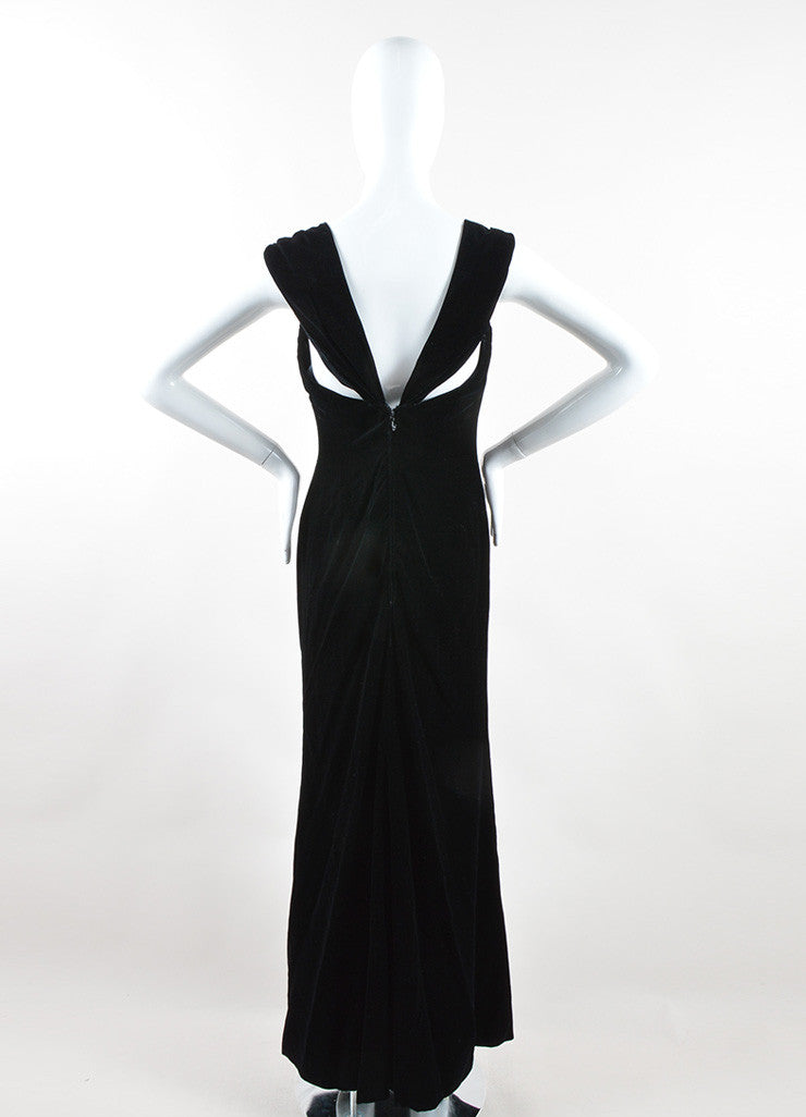 Oscar de la Renta Black Velvet Draped Full Length Sleeveless Gown Backview