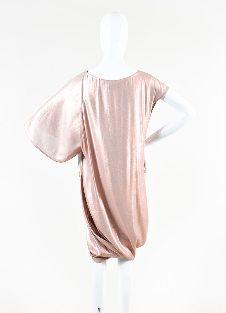 Pink Metallic Ports 1961 Silk Ruched Asymmetrical Sleeve Dress Back