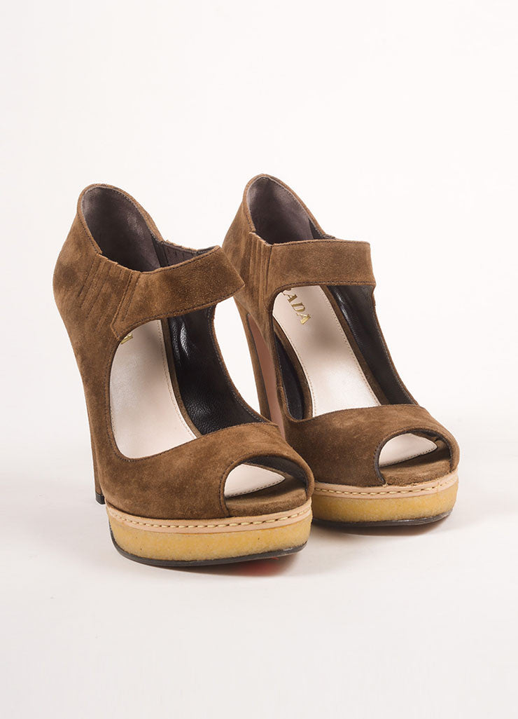 New In Box Brown Suede Mary Jane Peep Toe Platform Pumps