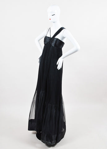 Prada NWT Black Silk Accordion Pleated Empire Waist SL Evening Gown angle