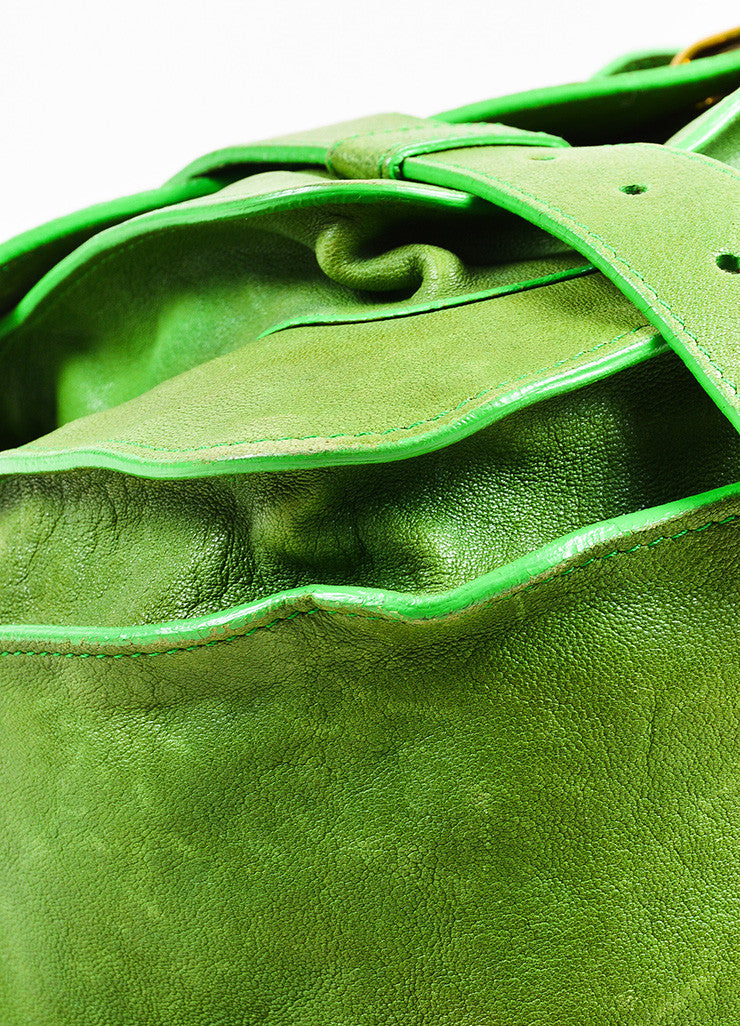 "Proenza Schouler Kelly Green Leather Medium Crossbody ""PS1"" Messenger Bag Detail"