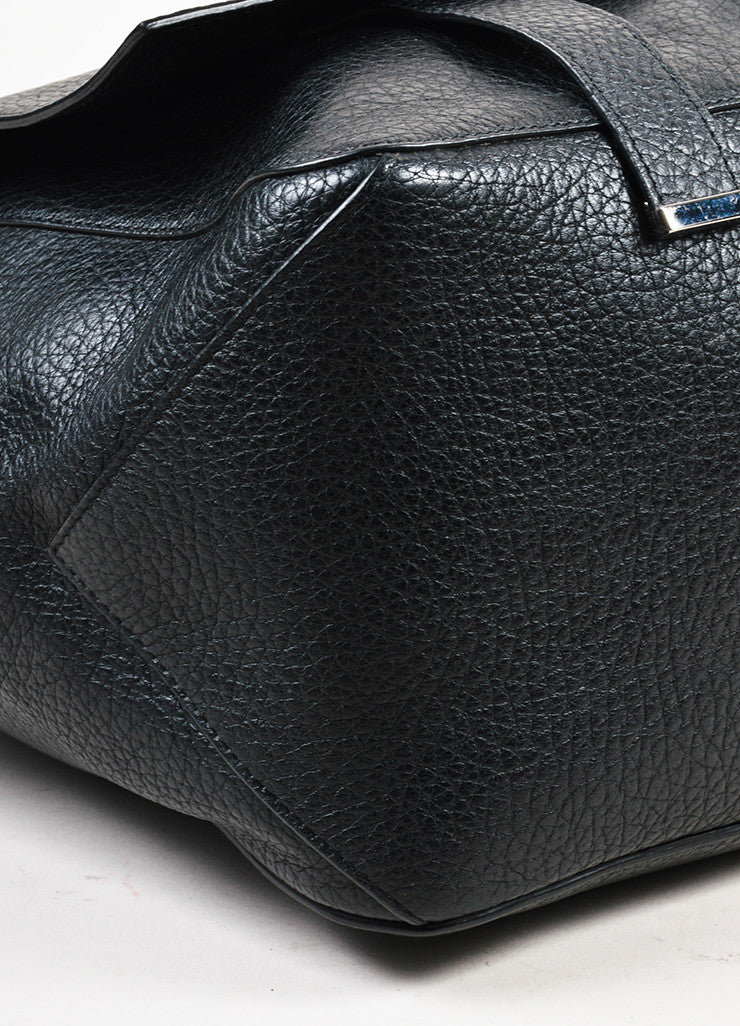 "Proenza Schouler Black Pebbled Leather ""Large Courier"" Flap Bag Detail"