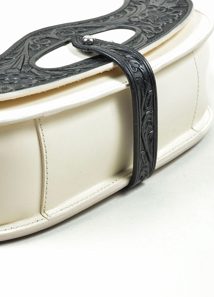 Black and White Ralph Lauren Leather Flap Cross Body Saddle Bag Bottom View