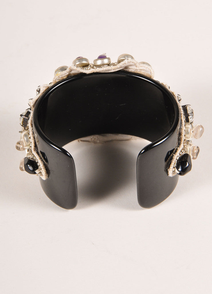 Ranjana Khan New Black and Purple Rhinestone Beaded Cuff Bracelet Backview