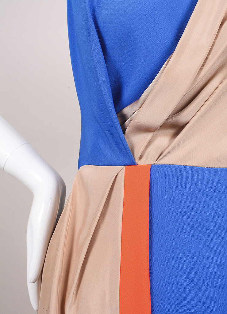 "Roksanda Ilincic New Multicolor Color Block Draped Sleeveless ""Shraya"" Dress Detail 2"