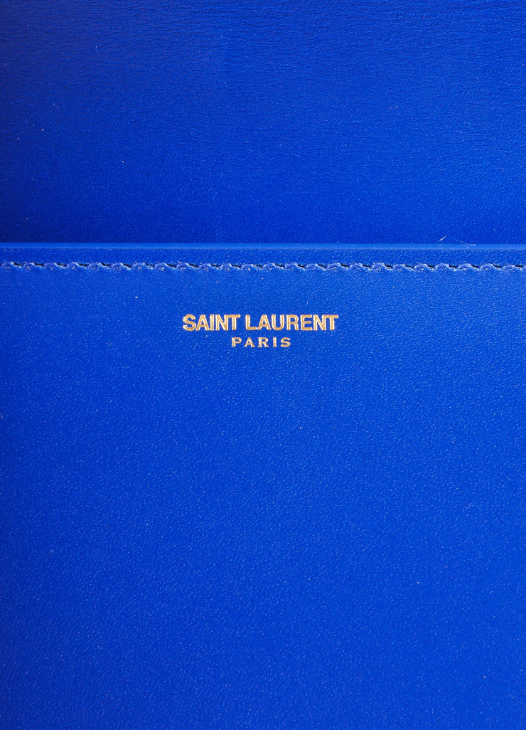 "Saint Laurent New With Tags Blue Leather ""Borsa Betty 2"" Medium Chain Bag Brand"
