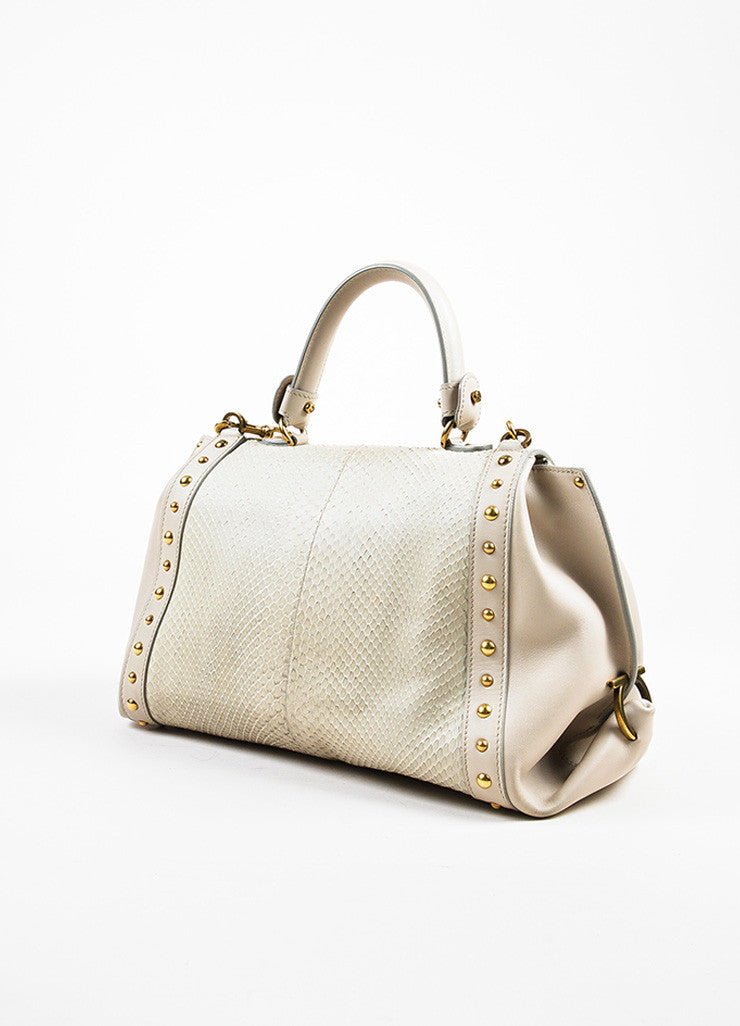 "Salvatore Ferragamo Grey Leather Python Studded ""Sofia"" Satchel Bag Sideview"