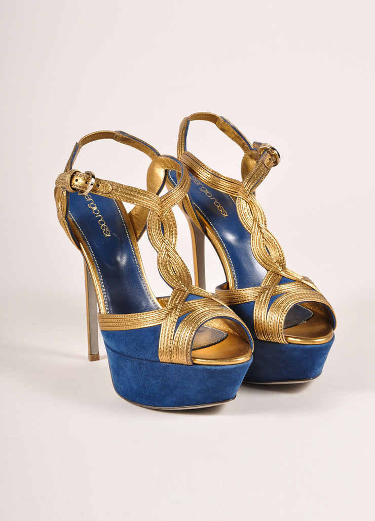 Sergio Rossi New In Box Blue and Bronze Suede Leather T-Strap Platform Pumps Frontview