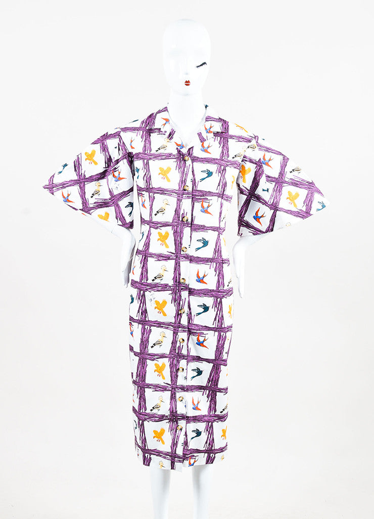 "Stella Jean Multicolor Bird Print ""Sommelier Chemisier"" Shirt Dress Front 2"