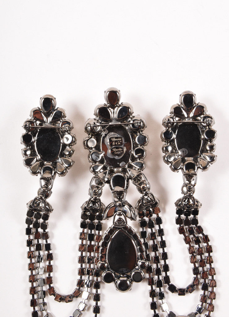 Timothy Szlyk Thorin & Co. Gunmetal Tone Rhinestone Chandelier Brooch Pin Detail 2
