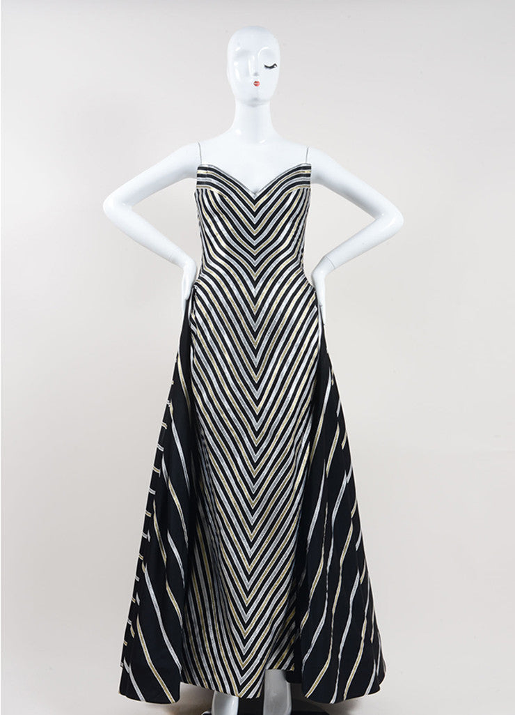 Bob Mackie Black, Gold, and Silver Stripe Metallic Full Length Strapless Gown Frontview