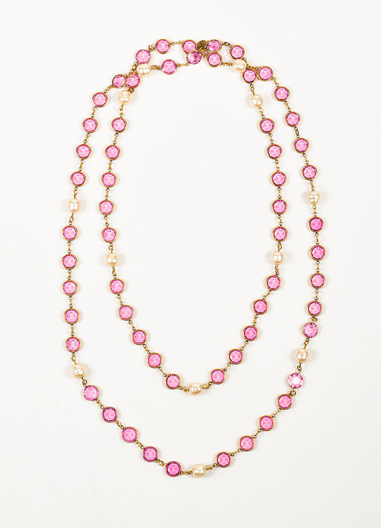Gold Toned and Pink Chanel Crystal Faux Pearl Long Single Strand Necklace Frontview