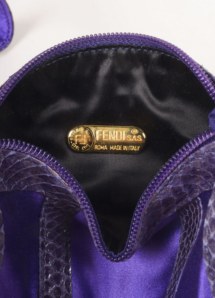 Fendi Purple and Grey Satin and Snakeskin Leather Zip Shoulder Bag Brand