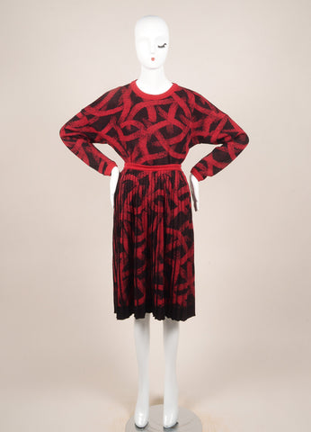 Missoni Black and Red Wool Knit Pleated Skirt and Sweater Set Frontview