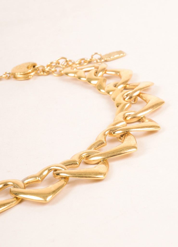 Yves Saint Laurent Gold Toned Link Open Heart Chain Necklace Detail 2
