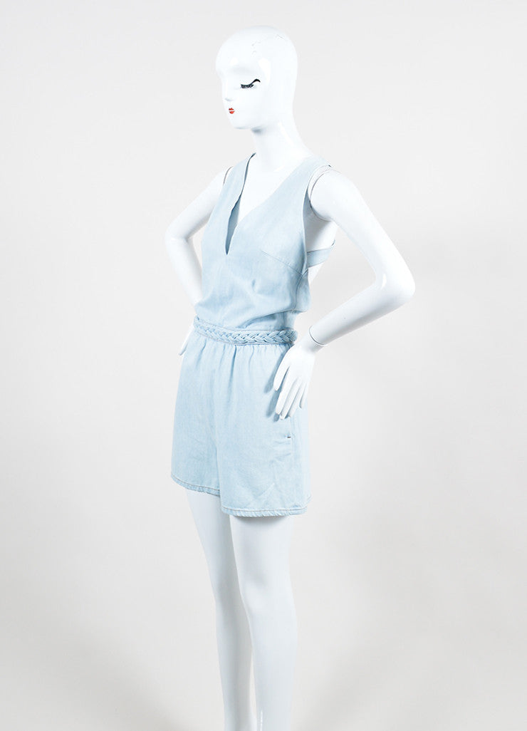 Light Blue Valentino Denim V-Neck Braided Trim Sleeveless Romper Sideview