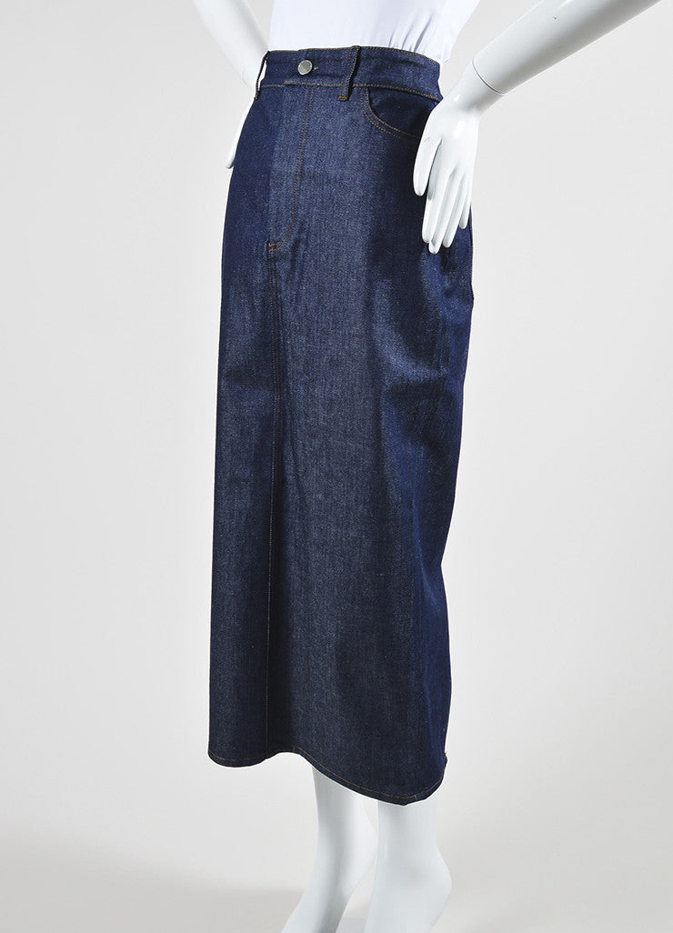 Victoria Beckham Jeans Dark Blue Denim Slit Midi Pencil Skirt Sideview