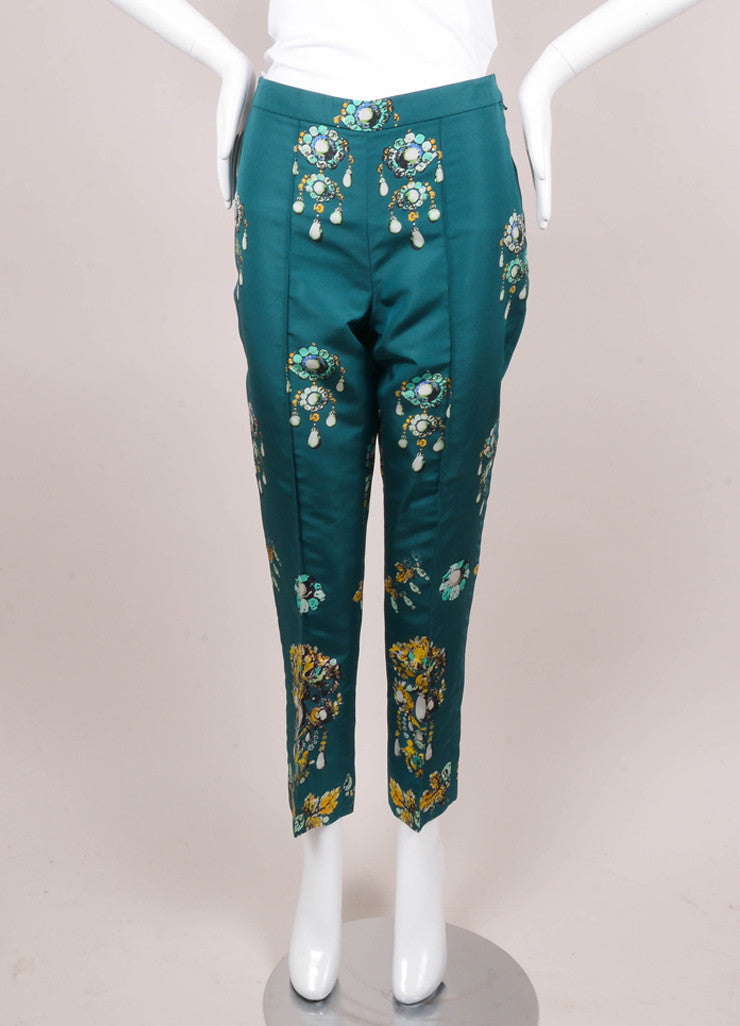 New With Tags Green Bijoux Print Tapered Silk Trousers
